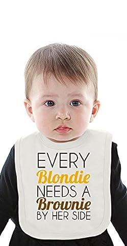 Blondie Needs A Brownie Funny Slogan Organic Bib With Ties Medium