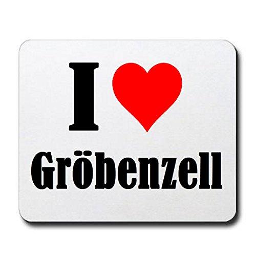 """Exklusive Geschenkidee: Mauspad """"I Love Gröbenzell"""" in Weiss, eine tolle Geschenkidee die von Herzen kommt- Rutschfestes Mousepad- Weihnachts Geschenktipp"""