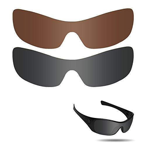 Fiskr Anti-Salzwasser polarisierte Ersatzgläser für Oakley Antix Sonnenbrillen 2 Stück, Stealth Black & Bronze Brown
