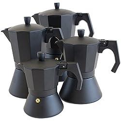 Oxid7® Italienischer Espressokocher Espresso Mokka Maker Aluminium für 9 Tassen Espressomaschine schwarz für Induktion geeignet