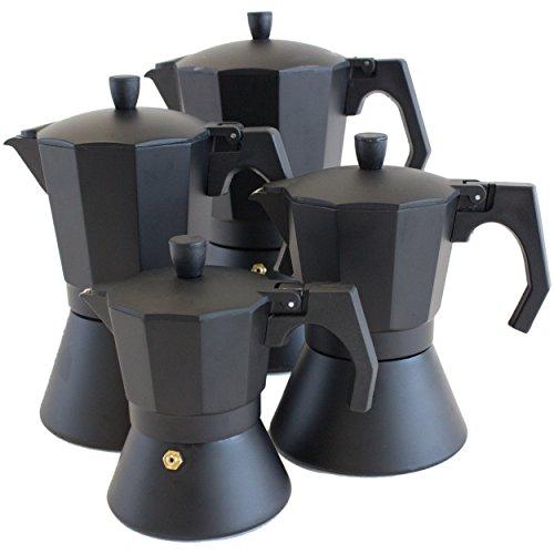 Oxid7® Italienischer Espressokocher Espresso Mokka Maker Aluminium für 6 Tassen Espressomaschine schwarz für Induktion geeignet