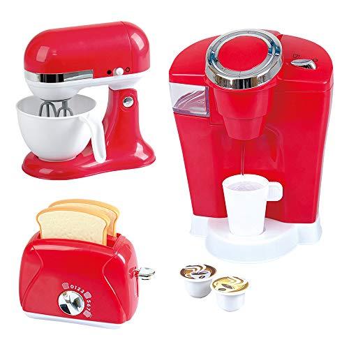 PlayGo Pack 3 Accesorios Cocina, cafetera, batidora y tostadora, Color Rojo (ColorBaby 44912)