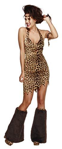 Fever, Damen Höhlenfrau Kostüm, Kleid, Stirnband, Armmanschette und Beinwärmer, Größe: XS, ()