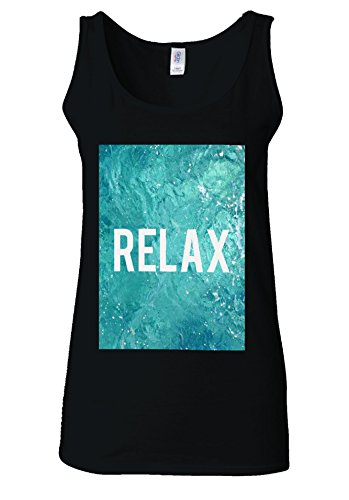 RELAX Holiday Mode Pool Relaxing White Women Vest Tank Top *Noir