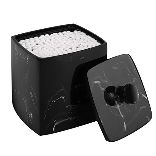 Luxspire Square Resin Cotton Swab Holder with Lid, Q-Tip Cotton Ball Rounds Canister Jar Cotton Bud Dispenser Storage Box Cosmetics Makeup Countertop Organizer Containers - Ink Black (Organizer Countertop)