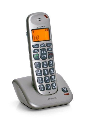 Emporia D40 DECT Schnurlostelefon mit LCD Display, Freisprecheinrichtung und ECO Modus, silber (Hörgerät Mode)