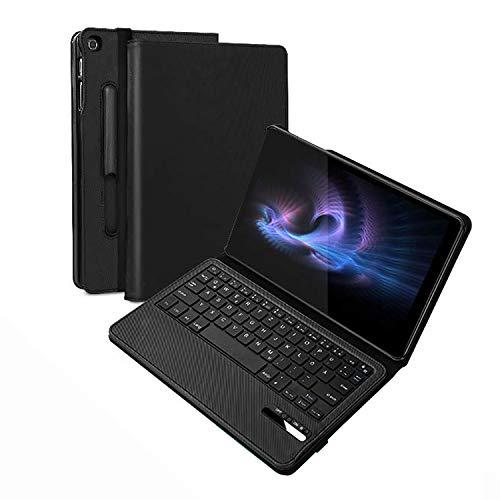 Jelly Comb Samsung Galaxy Tab A 10,1 Zoll 2019 Tastatur Hülle, Wiederaufladbar Abnehmbar QWERTZ Bluetooth Tastatur und Schützhülle für Samsung Tab A T515/T510 10,1 2019, Schwarz