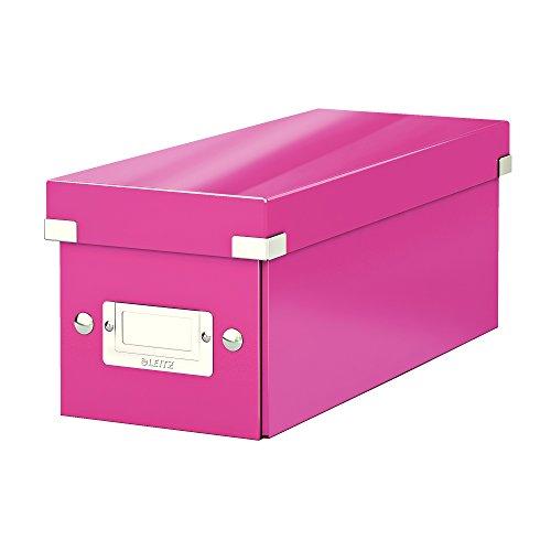 Leitz CD Aufbewahrungsbox, Pink, Mit Deckel, Click & Store, 60410023 (Ecke Foto Regal)