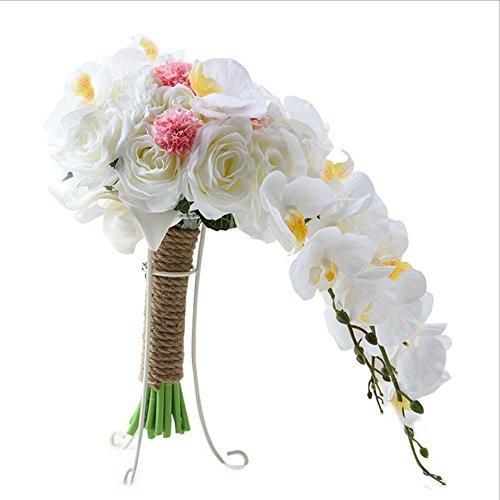 Weihnachtsgeschenk künstliche Phalaenopsis Wasserfall Bouquet Seide Blume Brautjungfer Hochzeit Bouquet Braut Hände gebunden Blumen Hochzeit liefert