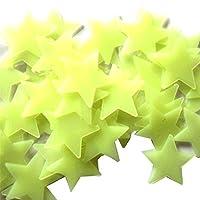 100pcs 3D Stars Glow in Dark Luminous Fluorescent Plastic Wall Sticker for Kids Baby Room Bedroom Ceiling Home Decor
