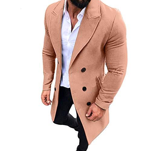 KPILP Männer Anzugjacken New Trench Long Strickjacke Outwear Button Smart Mantel Windjacke Herbst und Winter Sakkos(Rosa,EU-58/CN-XL)