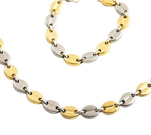 metronhomme-parure-en-acier-argente-dore-collier-chaine-bracelet-homme-grain-de-cafe-m-h-1139