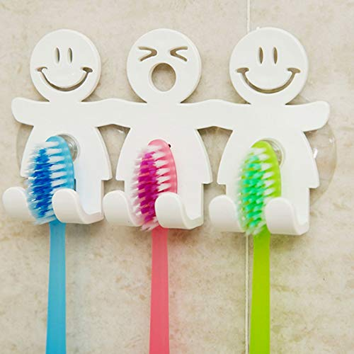 Bobopai Cute Toothbrush Holder with Suction Cup for Bathroom Wall Smile Face Emoji Home Decor