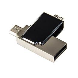 16GB Doble uso del USB 2.0 Micro USB Flash Drive OTG Android Stick, Memoria USB con Llavero Metal