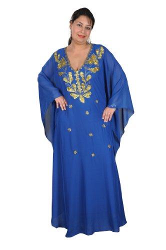 Egypt Bazar Egypt Bazar Abaya Festkleid aus Chiffon, Einheitsgröße: M bis XXXL (Blau/Gold)