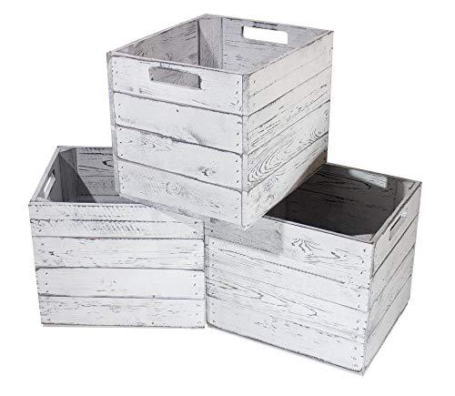 3X Vintage-Möbel 24 Kiste Vintage für Kallax Regale weiß/Weiss 33cm x 37,5cm x 32,5cm Einlagekiste grau IKEA Kallax Expedit Einsatz Aufbewahrungskiste Obstkisten Weinkisten DIY