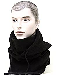 Tangmi® - Pasamontañas unisex de forro polar con capucha y máscara, negro