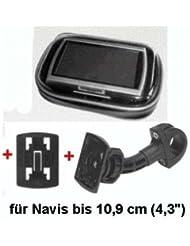 """XiRRiX GPS Bikerset 4 Motorradtasche Navi Biker Set Universal Fahrrad+Motorrad Halterung inkl. Tasche, Outdoor-Tasche für Navigation, für GPS Geräte bis 4,3"""" (10,9cm) für Motorrad, Fahrrad Farbe: schwarz"""