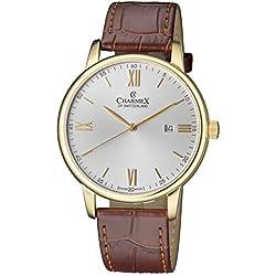 Charmex of Suiza Kyalami Reloj Hombre | 41 mm Fabricado en Suiza | Correa de Cuero Genuino marrón | Resistente al Agua | Carcasa de Acero Inoxidable chapada en Oro Amarillo