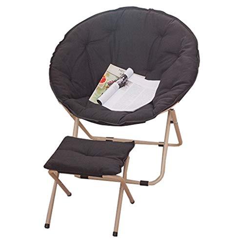KHL Multifunktionale mit Hocker tragbaren Mond Klappstuhl, einfache Farbe Sonnenliege Lazy Chair, Liege, Klappstuhl, Sofa Stuhl (Farbe : Schwarz)