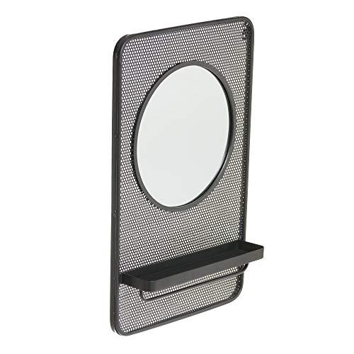 Espejo con Estante Negro de Metal y Cristal Industrial, de 53x80 cm - LOLAhome