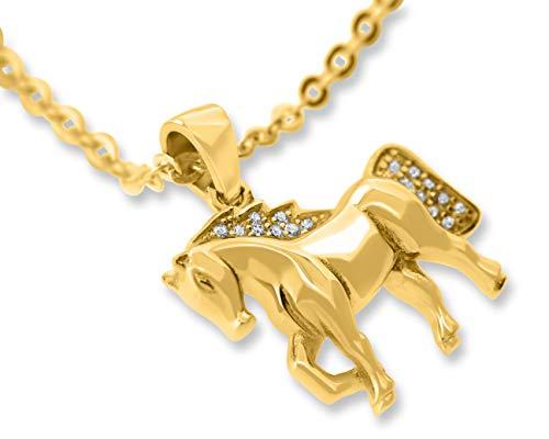 Kette Pferd Gold Silberschmuck ❤️ Pferde Schmuck 925 Silber Zirkonia Steine ❤️ Geschenk Weihnachten Pferdefreund Koppel Ponny Stute Anhänger