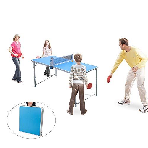 KIKILIVE Mesa de Ping Pong portátil, Mesa de Ping-Pong Plegable con A