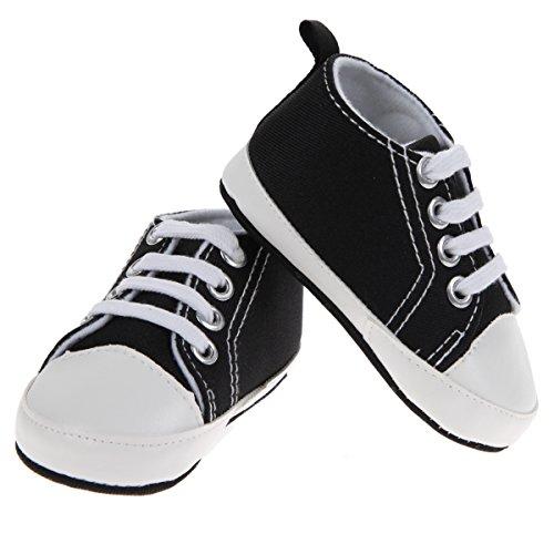 La Cabina 1Paires Boy&Girl Bébé Chaussures en Toile Kids Shoes First Walkers (13, Noir) Noir