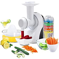 Robot Multifonction 3 en 1 Trancheuse à Légumes en 5 formes, Mixeur et Pressoir Lames en Acier Inoxydable 18 x 13 x 26 cm Noir et Blanc