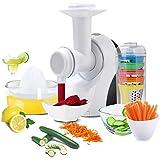 Robot Multifonction 3 en 1 Trancheuse à Légumes en 5 formes, Mixeur et Pressoir...
