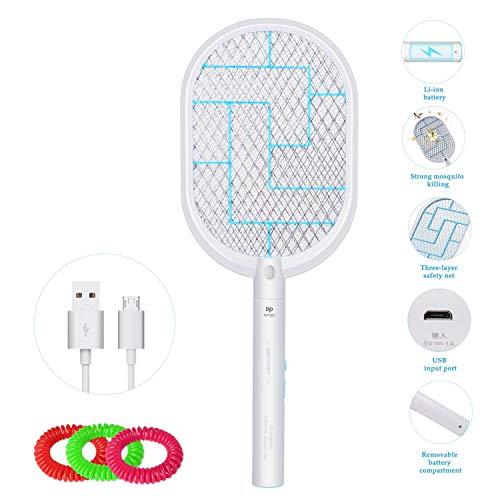DIMJ Elektrische Fliegenklatsche, Fliegenfänger Moskito Zapper mit 3 stück Mückensc hutz Armband, LED-Beleuchtung und USB wiederaufladbar, Doppelte Schichten Mesh Schutz