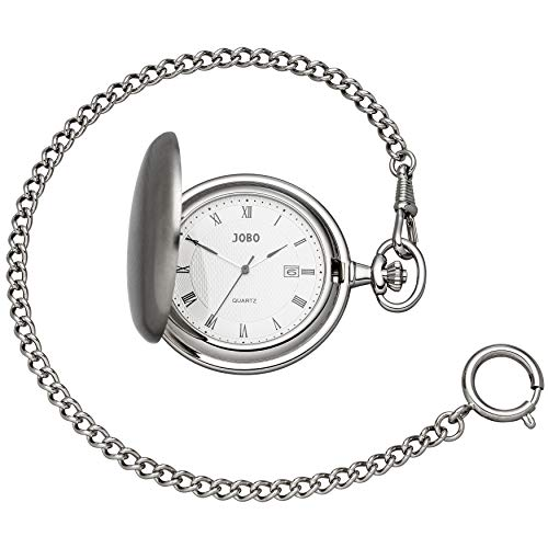 Unisex JOBO Taschenuhr Quarz Analog verchromt Datum Sprung-Deckel