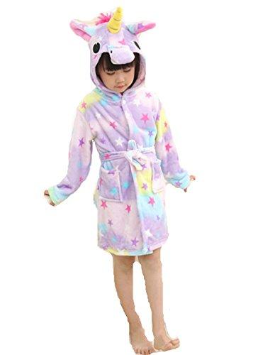 Woneart Kinder-Bademantel mit Kapuze Morgenmantel Einhorn Schlafanzug Tier -