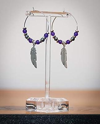 Créole plume, pierre naturelle jade violette hématite àfacettes, anneau acier inoxydable argent