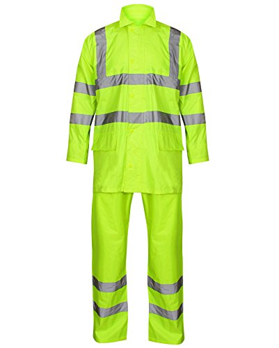HuntaDeal High Visibility Hooded Rainsuit |2 Piece Set |Unisex Hi Viz VIS Rain Suit |Overalls Coverall Jacket & Trousers |Waterproof Overalls PVC Workwear Rain Wear Carwash Car Wash Boat Plus Big Size