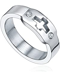 Stainless Steel Cross and Cubic Zirconia Ring (Silver)