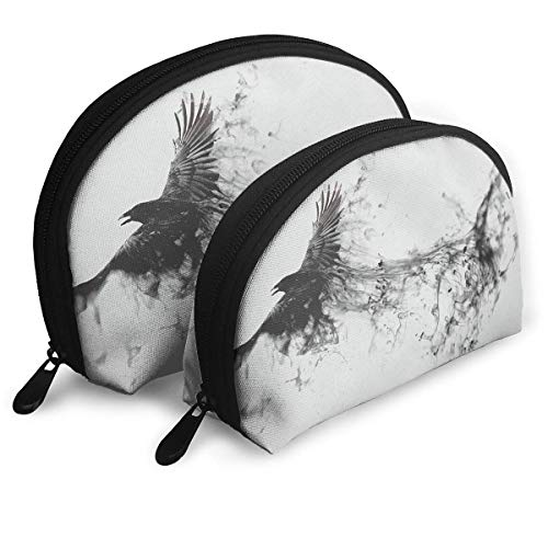 Portable Shell Makeup Storage Bags Black Raven Ink Art Travel Waterproof Toiletry Organizer Clutch Pouch for Women - Zip-front-lab