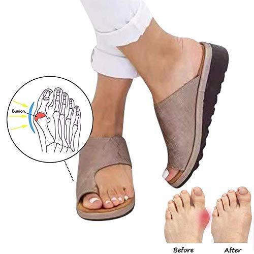 Not-leder-schuhe (Hyxxz Sandalen Pu-Leder orthopädische Hausschuhe Damen Komfort Plattform Orthopädie lässig Big Toe Korrektur Strandschuhe (Color : Brown, Size : 40))