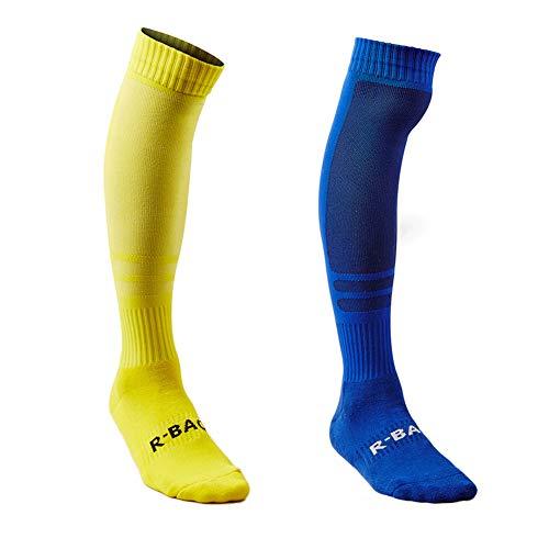Sumkia life calze da calcio calzettoni calcio sportivi a compressione calzino uomo elasticizzati in cotone traspirante imbottiti con spazio per crescere altezza ginocchio confezione da 3 (giallo/blu)