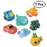 TOYMYTOY Badespielzeug Verkehrsmittel Form Wasserspritzte Spielzeug für Wasserspiel Badespaßzeit Baby Kinder 7 Stück