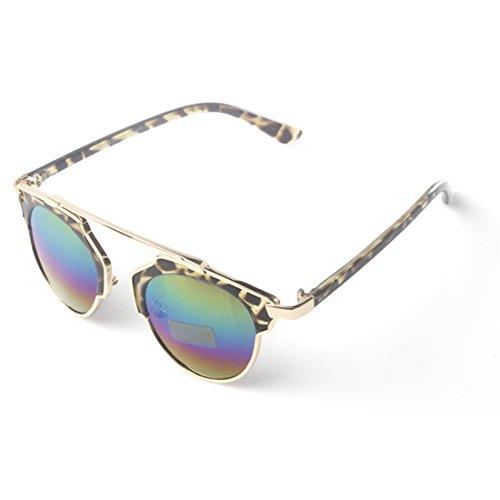 Accessoryo - braun Leopardenmuster Sonnenbrille mit Gold hohe Stirn Detail & Regenbogen revo Linsen
