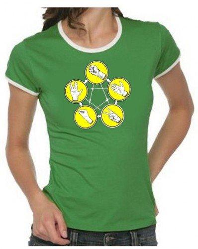 Pierre papier ciseaux Big Bang Theory Pierre-feuille-ciseaux T-shirt pour homme + femme s–XXL Couleurs assorties Green Damen