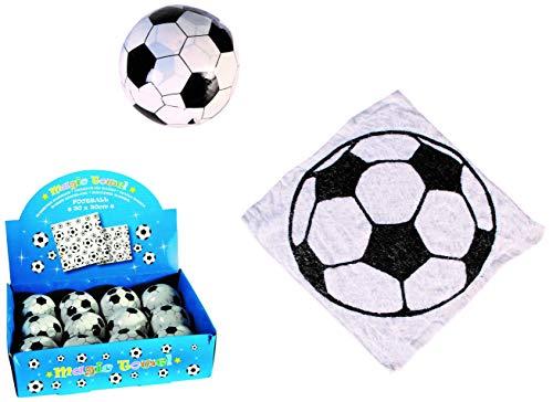 Magisches Zauber-Handtuch mit Fußball Motiv Waschlappen Kinder-Geburtstag Mitgebsel Geschenk-Idee Party Gewinn Spiel Give-aways Goodies (8er Set)
