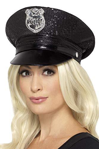 Fever Damen Pailletten Polizei Hut, One Size, Schwarz, ()