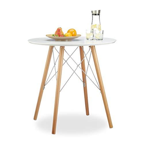 Relaxdays Küchentisch klein ARVID 72 x 75 x 75 cm HxBxT, Esstisch für kleine Küche, Holztisch nordischer Stil, weiß (Amazon Küchentisch)