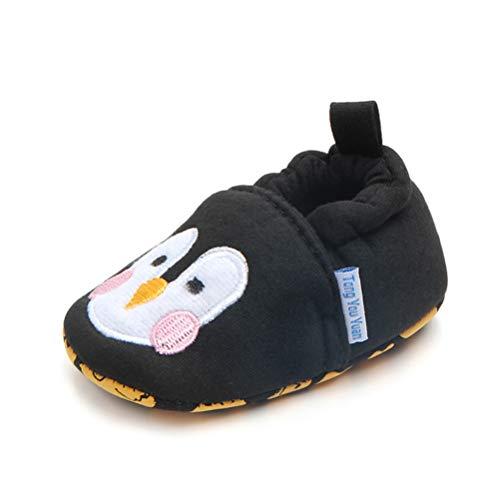EDOTON Weicher Baumwolle Lauflernschuhe mit Cartoon Tiere Krabbelschuhe Babyhausschuhe Kleinkind Jungen und Mädchen (6-12 Monate, Schwarzer Pinguin)