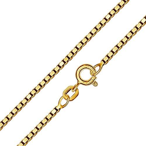 CLEVER SCHMUCK Set Goldener Taufring Ø 12 mm Engel rund mit Zirkonia weiß glänzend 333 Gold 8 Karat mit vergoldeter Kette Venezia 36 cm - 2