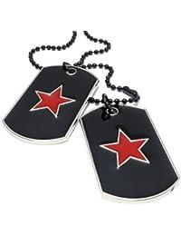 KONOV Schmuck Herren Halskette, 2 Militärischen Rot Stern Erkennungsmarken Armee Stil Dog Tag Anhänger mit 68cm Kette, Rot Schwarz