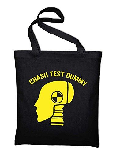 Crash Test Dummy Jutebeutel, Beutel, Stoffbeutel, Baumwolltasche Schwarz