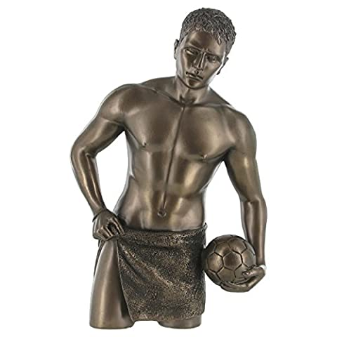 Lean On Me, Topless Man Cold Cast Bronze Sculpture. Erotic Statue Love is Blue Collection. Height: